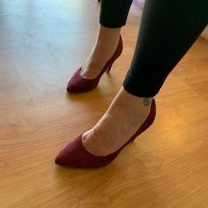 Burgundy suede heels